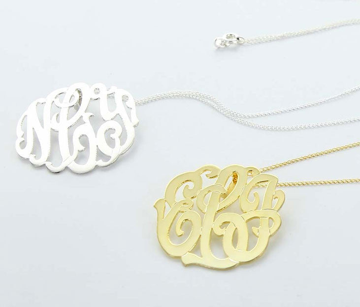 Gold And Silver Monogram Necklace
