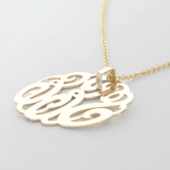 Back View Gold Monogram Necklace