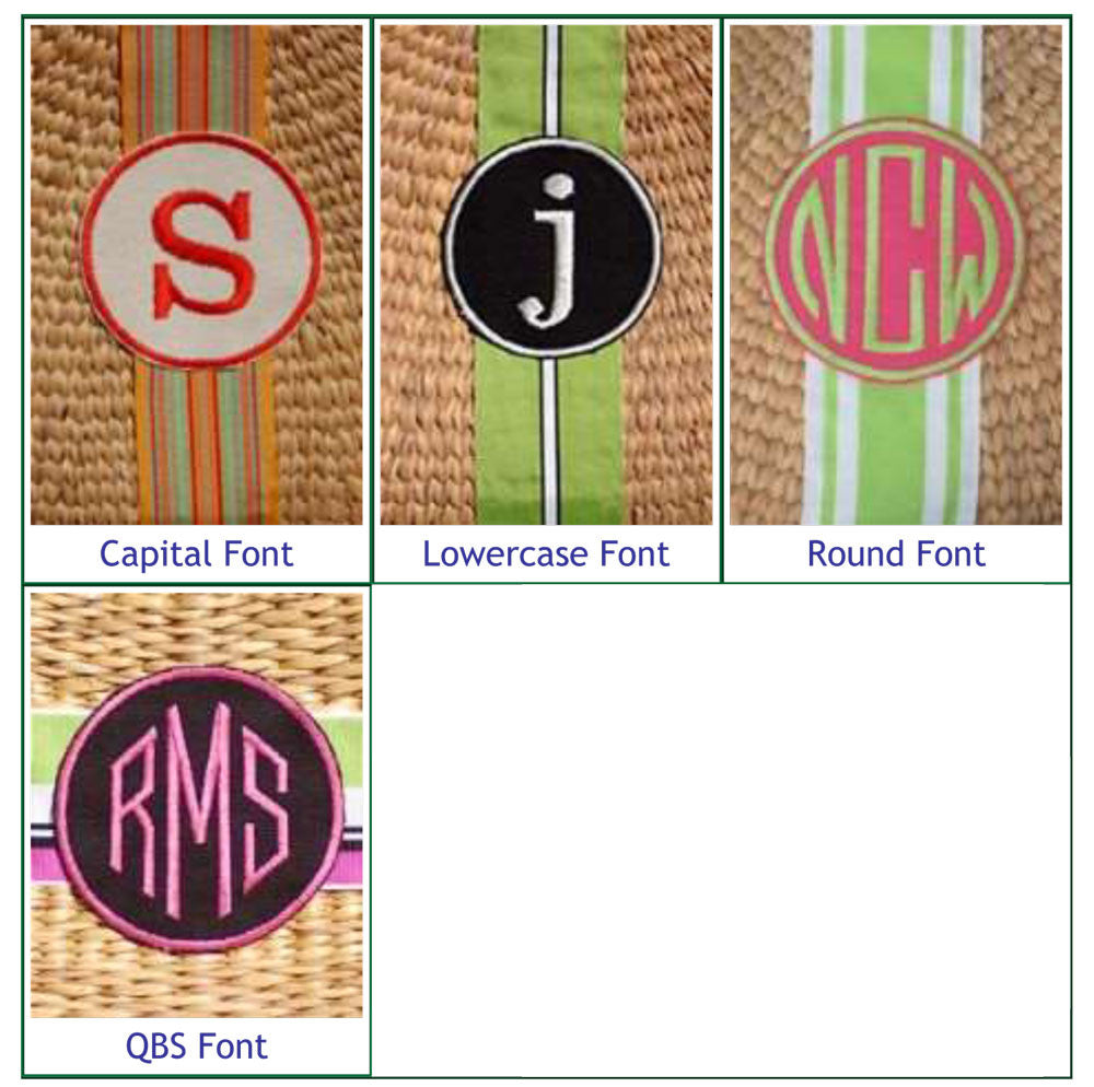 Monogrammed Beach Straw Basket Bag Alternate 3