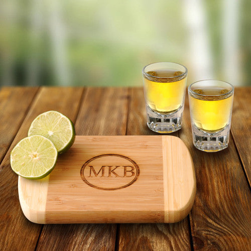 bamboo monogram cutting board with shot glasses