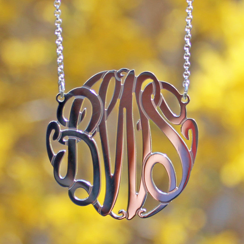 Sterling Silver Monogram Necklace - Big Slim