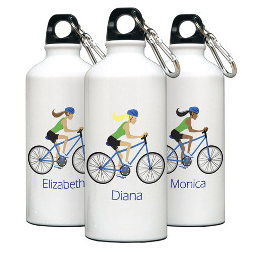 Personalized Water Bottle Biker Gal