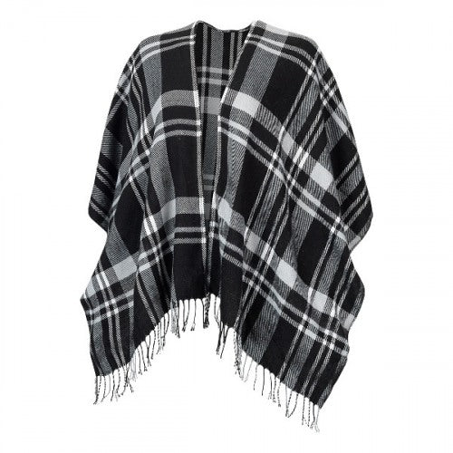 Monogram Shawl - Black Plaid 2