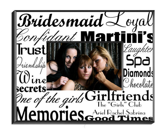 Personalized Bridesmaid Frame Black On White