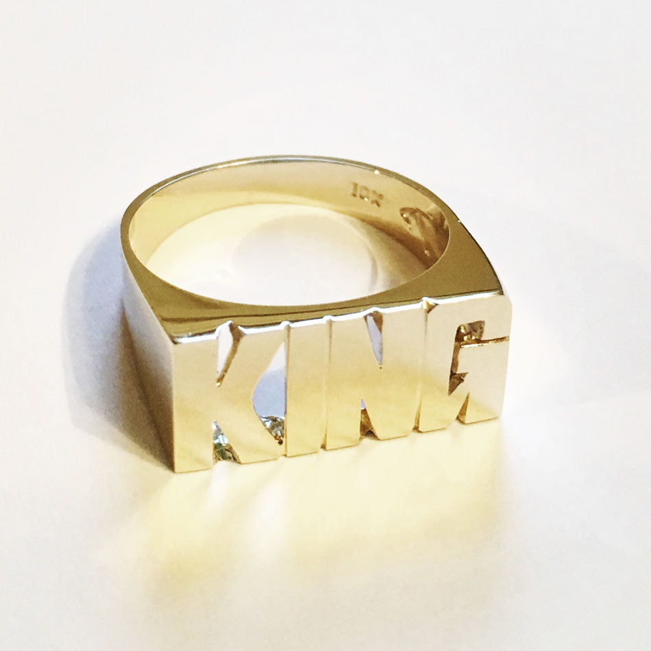 10K Gold Medium Block Name Ring 2