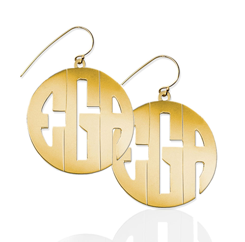 Large Block Monogram Dangle Earrings