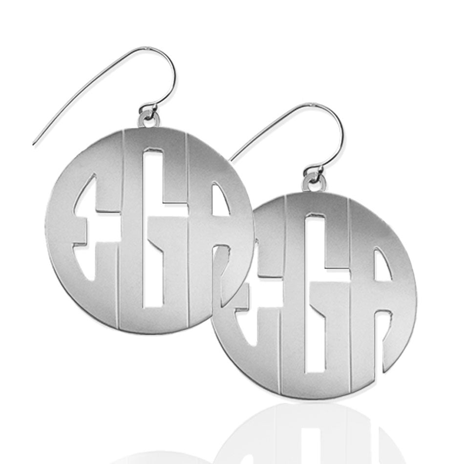 Large Block Monogram Dangle Earrings 2
