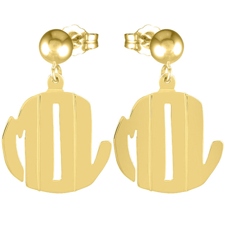 Gold Cutout Monogram Earrings