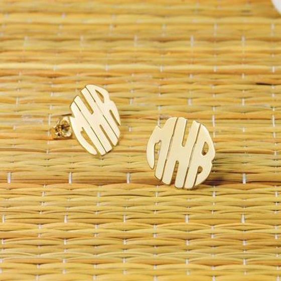 10K Gold Block Monogram Earrings