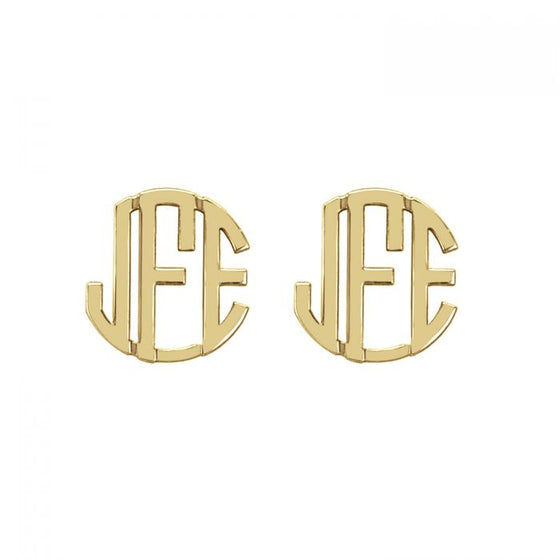 14K Solid Gold Block Monogram Stud Earrings