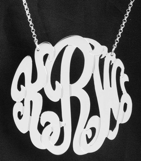Extra Large Sterling Silver Monogram Necklace