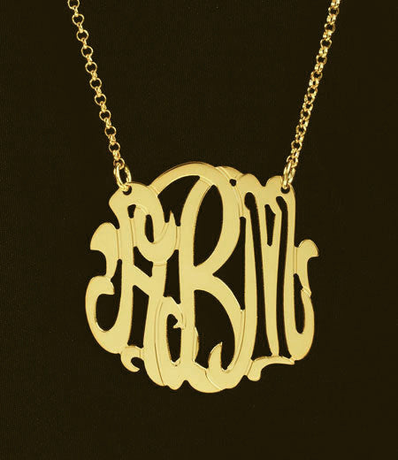 Gold Monogram Necklace Medium