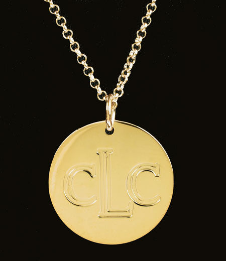 Engraved Gold Disc Necklace Kardashians