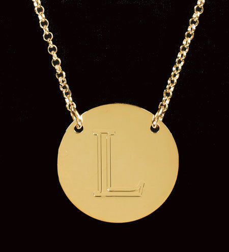 Engraved Gold Disc Initial Necklace