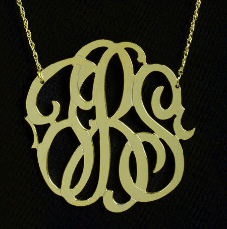 Gold Monogram Necklace   1.5 Inch Medium Gold Filled