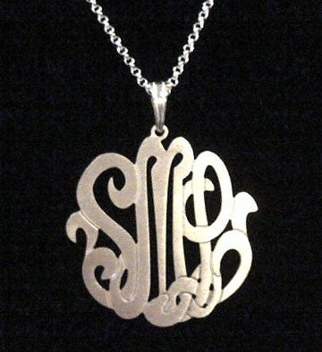 Sterling Silver 3 Initial Monogram Necklace