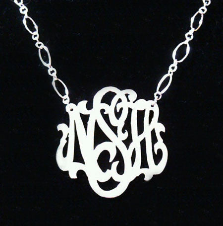 Sterling Silver Monogram Necklace Long And Short Chain