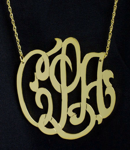 Gold Monogram Necklace   1.5 Inch