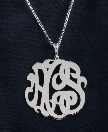 Sterling Silver 3 Initial Monogram Necklace Alternate 1