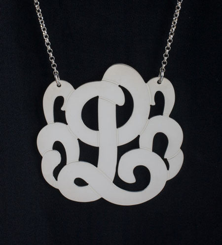 Swirly Initial Necklace Silver large