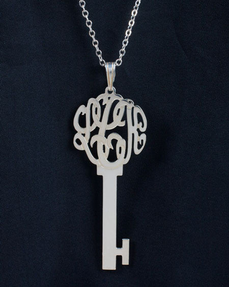 Sterling Silver Monogram Skeleton Key Necklace