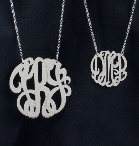 Sterling Silver 3 Initial Monogram Necklace Alternate 2