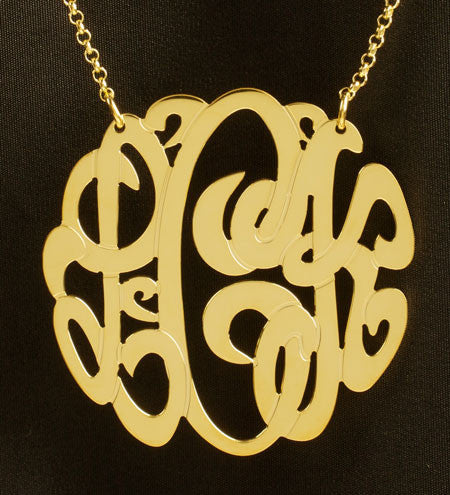 Large Gold Monogram Necklace