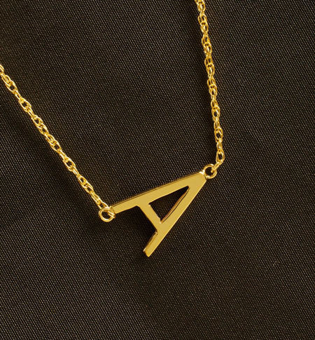 Gold Sideways Initial Necklace   Rope Chain