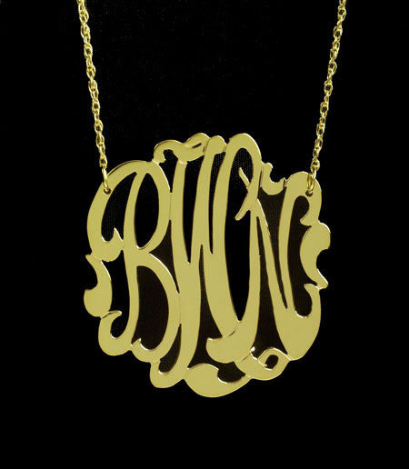 Medium Gold Monogram Necklace   1.25 Inch