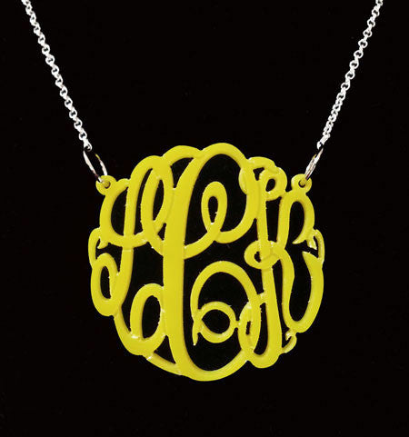 Yellow Acrylic Monogram Necklace Big Slim