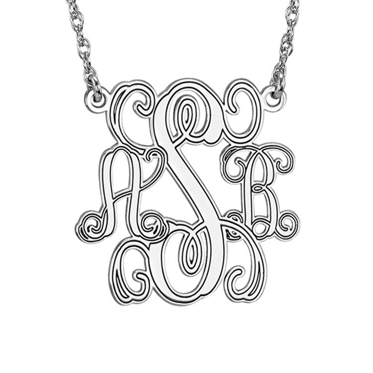Silver Monogram Necklace Interlocking Script