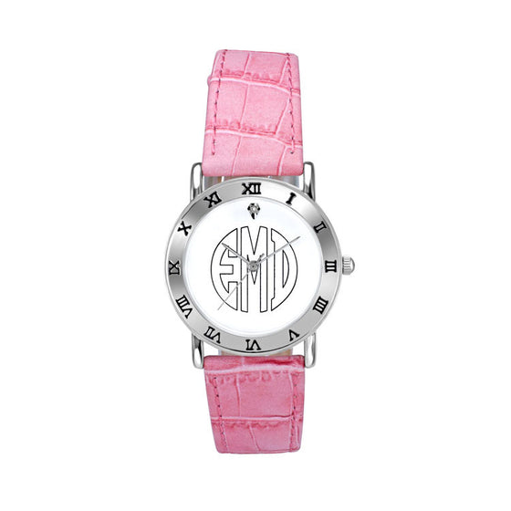 Ladies Classic Outline Block Monogram Watch