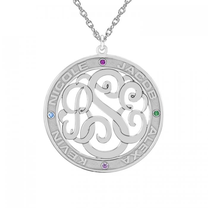 Classic Border Cutout Monogram Mothers Birthstone Necklace