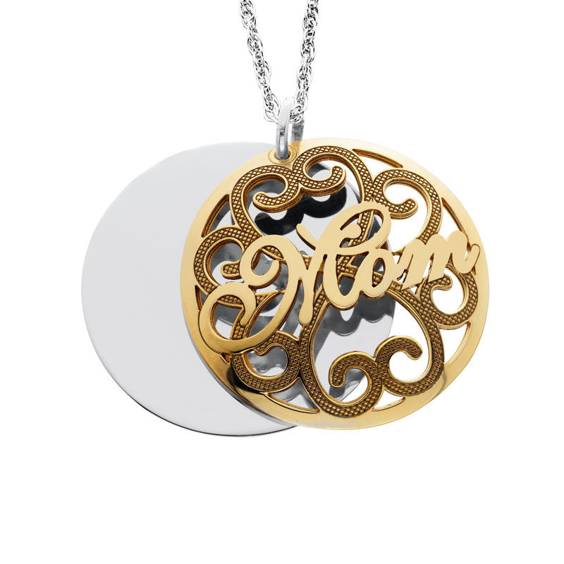 Personalized Engraved Domed Mom Pendant Up To 5 Names