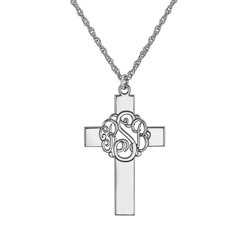 Personalized Classic Monogram Cross Necklace Alternate 1