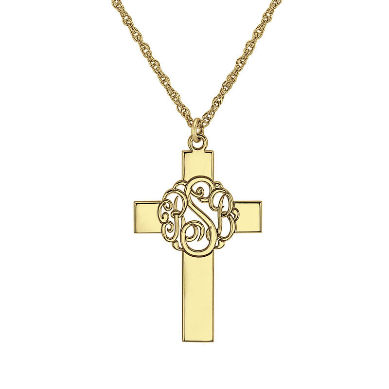 Personalized Classic Monogram Cross Necklace