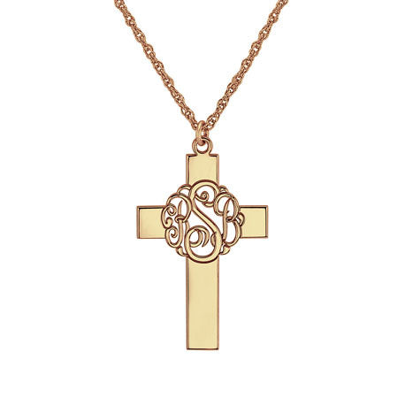 Personalized Classic Monogram Cross Necklace Alternate 2