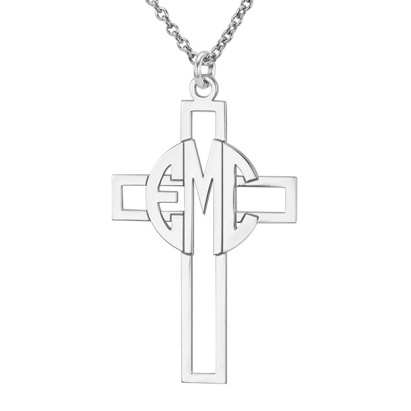 Personalized Block Monogram Cross Necklace Alternate 1