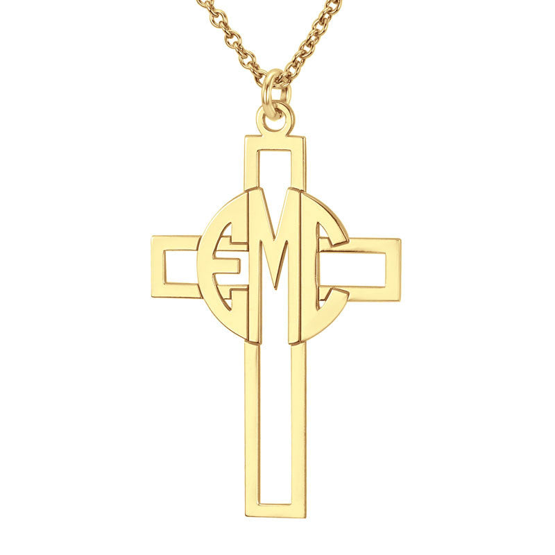 Personalized Block Monogram Cross Necklace