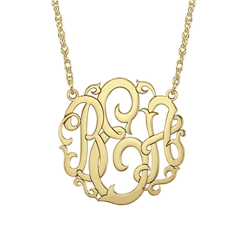 Gold Monogram Necklace Vine Script