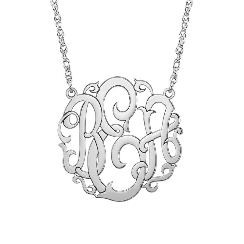 Silver Monogram Necklace Vine Script