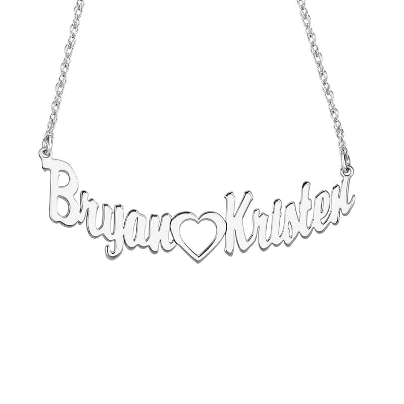 Sterling Silver Connected Heart Nameplate Necklace