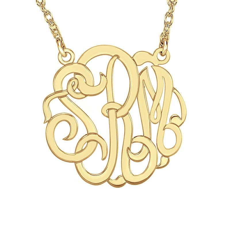 Personalized Sterling Silver Classic Script Monogram Necklace Alternate 3