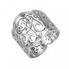 Sterling Silver Cigar Band Scroll Monogram Ring