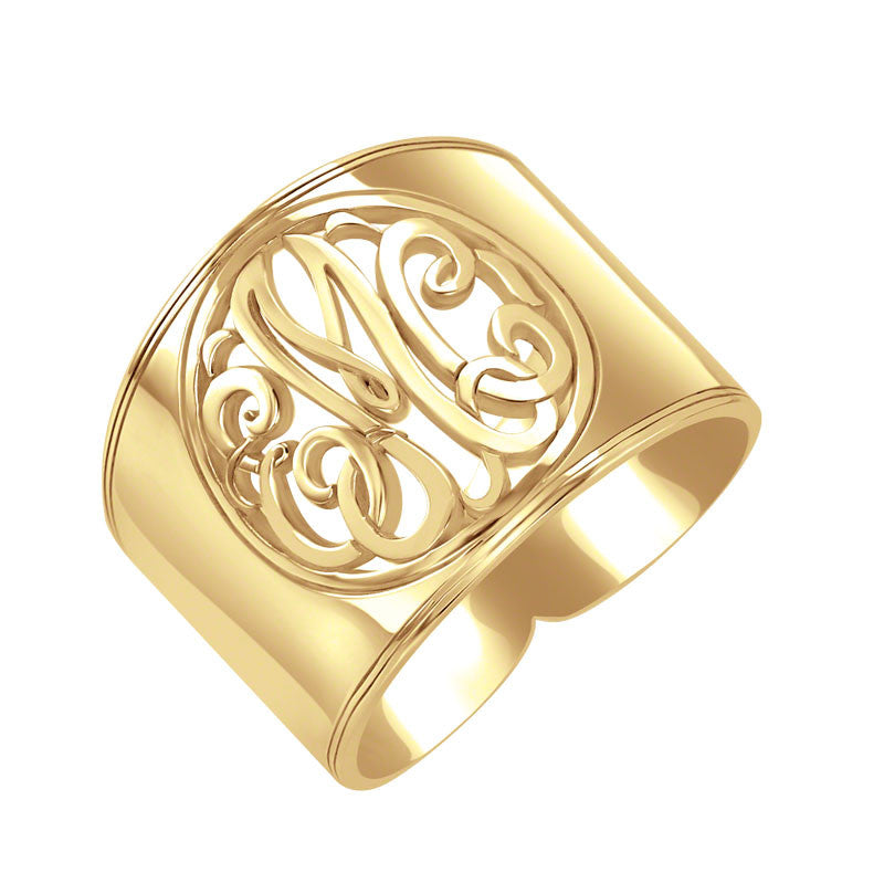 Sterling Silver Cigar Band Classic Monogram Ring Alternate 1
