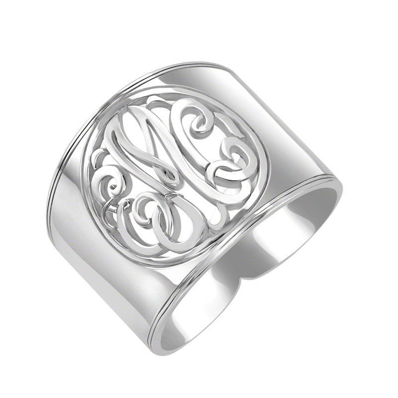 Sterling Silver Cigar Band Classic Monogram Ring