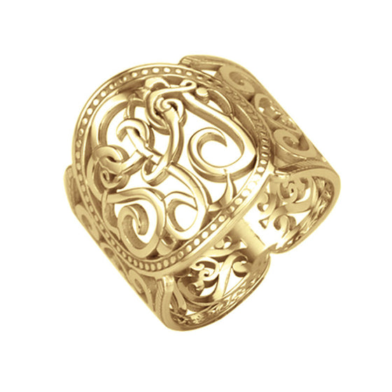 Cigar Band Scroll Monogram Ring