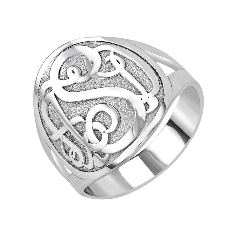 Sterling Silver Classic Bordered Monogram Ring