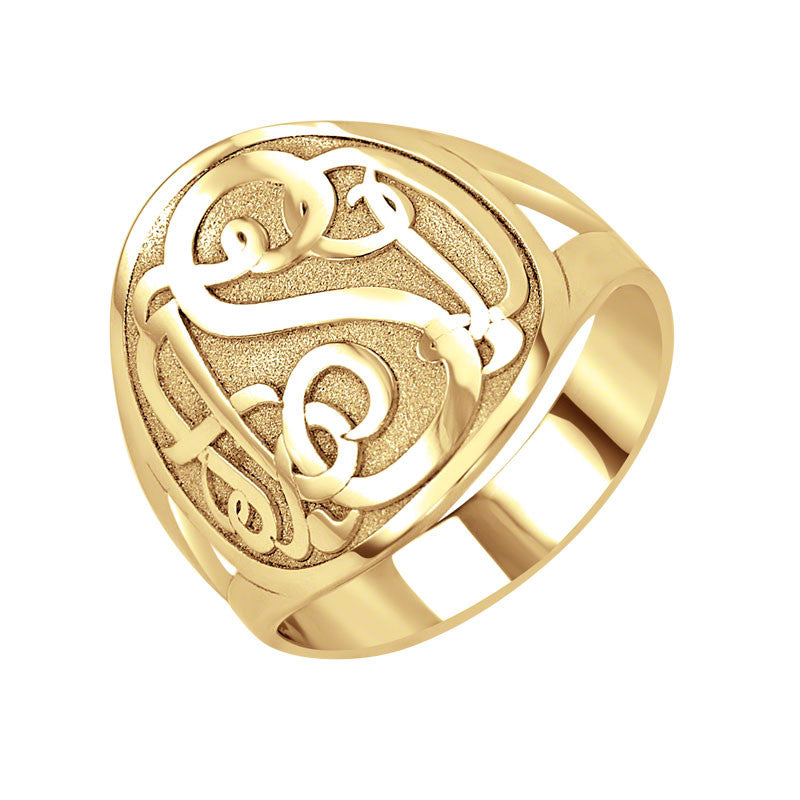 Classic Bordered Monogram Ring