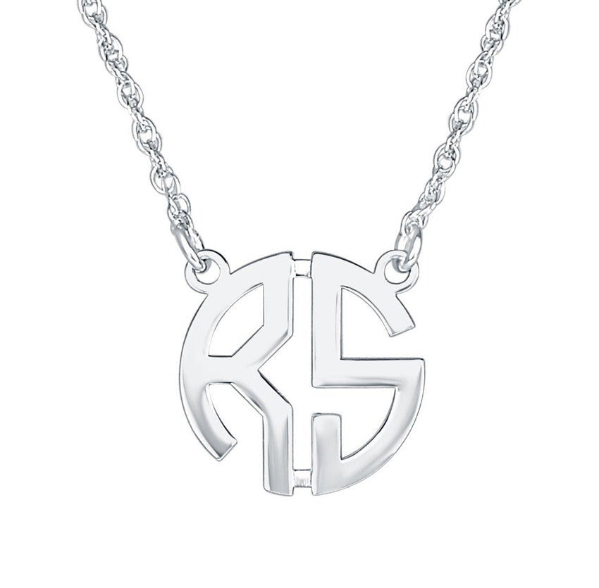 Silver Monogram Necklace   Two Initial